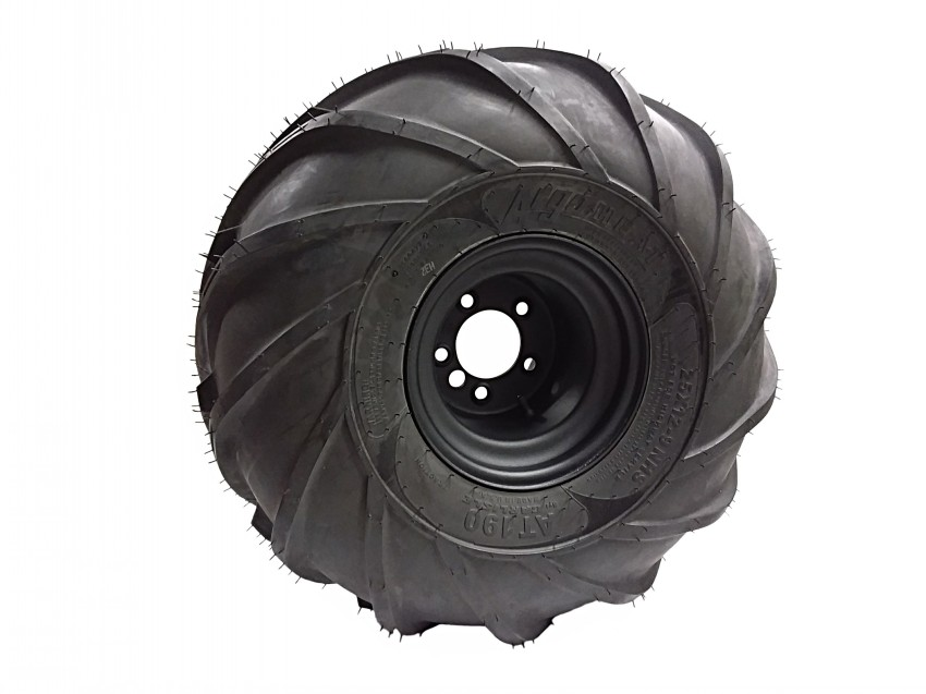 127-180R - 25x12-9 HEAT AT190 TIRE ON STD BLACK 9 INCH RIM - RIGHT